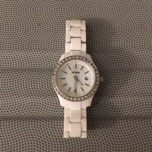 White Fossil Watch with Mother of Pearl Glitz